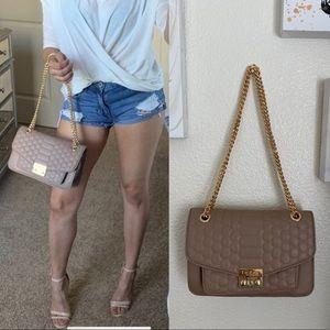 BeBe Nude Gold Chain Handbag Purse Flap Style